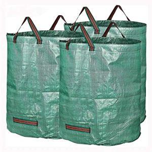 PQXOER Sacs à Plantes 72 Gallons Direction Feuilles Collecte Entretien ménager Paniers de Rangement 3 Packs Jardin Sacs déchets Sacs de Plantation de Jardin (Color : Green, Size : 83 x 65cm)
