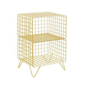 Produits ménagers/meubles Canapé Side Table, Téléphone Table, Chambre Table de chevet, 2 couche de stockage étagère, bibliothèque, 40 * 32 * 58cm (Couleur: Gold) (Color : Gold)