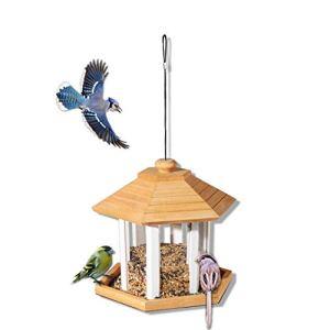 QNMM Mangeoires À Oiseaux, Mangeoire À Lanterne Suspendue pour Oiseaux Sauvages, Station d'alimentation en Bois, Garde D'écureuil, Maison D'oiseau, Parc De Nouveauté, Pavillons pour Jardin