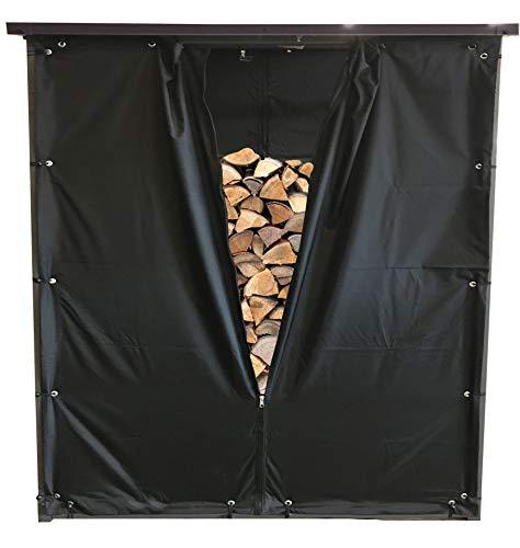 QUICK STAR Ensemble de Protection Contre Les intempéries Mur Avant et arrière PVC Noir pour Support de Bois de Chauffage XXL 185x70x185 cm