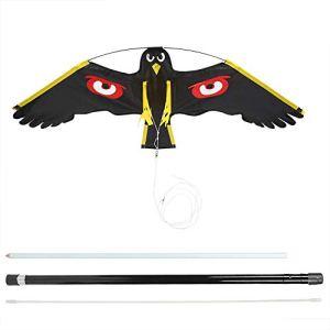 Répulsif à oiseaux extensible Scarer Flying Hawk Kit de cerf-volant avec poteau télescopique de 7 m largement utilisé dans la pelouse d'arrière-cour et la cour d'épouvantail de jardin de ferme