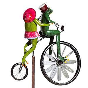 Sculptures De Vent De Bicyclette Vintage en Métal Spinner, Grenouille Ornement Jardin Cour Art Pelouse, Cour Décor Moulin À Vent Pelouse, pour La Décoration De Pelouse De Jardin Extérieur