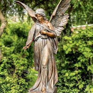 Serafinum Angelo Maestoso Ange funéraire debout avec plume en bronze patiné Vert 120 x 83 x 45 cm