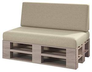 sunnypillow Set 2 Coussins pour Canapé Palette Intérieur/Extérieur Assise 120 x 80 x 15 cm + Dossier 120 x 40 x 20/10 cm plusieures Tailles et Couleurs à Choisir Siège Appui Lisse Lounge Ecru