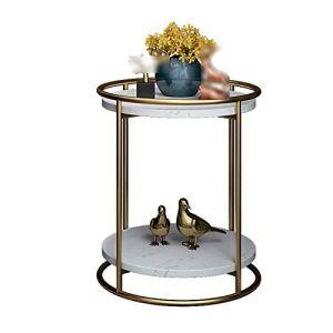 Table D'appoint Ronde en Marbre, Table D'appoint De Canapé à 2 Niveaux Maison Salon De Salon De Salon Table Balcon Café Magazine, 40 * 40 * 50cm(Size:40 * 40 * 50CM,Color:Une)