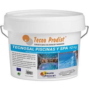 Tecno Prodist TECNOSAL Piscines et SPA 12 kg – Sel spécial pour la chloration saline de piscines, SPA et Jacuzzis – en seau facile à appliquer