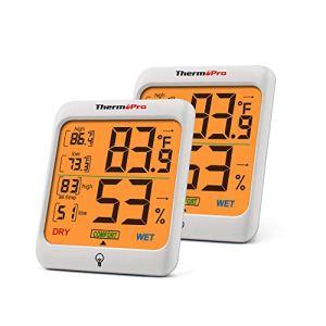 ThermoPro TP53 Hygromètre Indicateur D'humidité Intérieur Jauges de Température et D'humidité Thermomètre D'ambiance avec Rétroéclairage Thermomètre Hygromètre de Reptile avec Grand Écran, 2 Pièces
