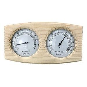 TINE Thermomètre De Sauna en Bois Massif Hygromètre 2 en 1 Hygrothermographe À Double Cadran Accessoires De Spas
