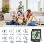 Uarter Thermomètre d'intérieur numérique – Hygromètre – Moniteur de température et d'humidité – Avec écran tactile LCD – Pour la maison, le bureau, la crèche, le confort – Thermo hygromètre