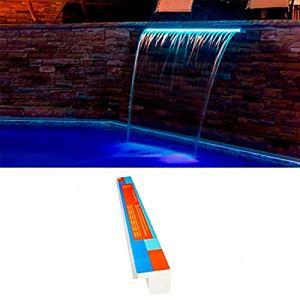 Warmpool Cascade acrylique encastrable LED RGB (bande LED remplaçable) avec télécommande et transformateur (90 cm languette 12 cm)