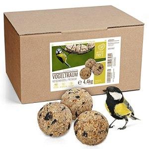 wildtier herz I Boule de Graisse – Sans Filet I Alimentation Idéale pour Oiseaux Sauvages I Carton 50 Boules de Graisses 4.4kg