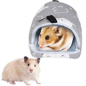 Winnfy Animal de Compagnie Toile Lit Suspendu Hamac Hamster Cachette Hutte Maison Durable Nid de Couchage pour Rat Hamster Écureuil Perroquet 14 * 12 Cm Lapin Gris