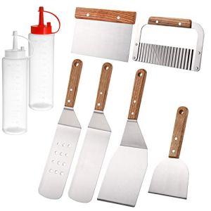 WUWEOT Lot de 8 accessoires professionnels pour grill, en acier inoxydable, kit d'outils pour grill, Hibachi, cuisine en plein air, cadeau idéal pour Noël, anniversaire pour papa