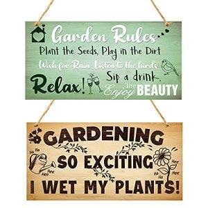 2 Pièces Panneaux de Jardinage Signe Gardening So Exciting I Wet My Plants Signe de Règles de Jardin Panneau de Jardinage Suspendu en Bois Plaque Suspendue Fantaisie