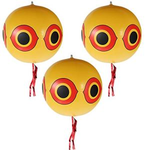 3Pcs Répulsif oiseaux ballon Ø34cm, Ballons repulsif anti-oiseaux, Ballon effaroucheur d'oiseaux avec yeux gonflables, Ruban, Corde et Autocollant Argenté