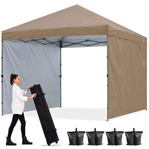 ABCCANOPY Tonnelle pop-up 3 x 3 m avec deux parois pare-soleil entièrement étanche – Abri instantané commercial – Sac à roulettes, 4 sacs de sable – 4 piquets (cadre gris)