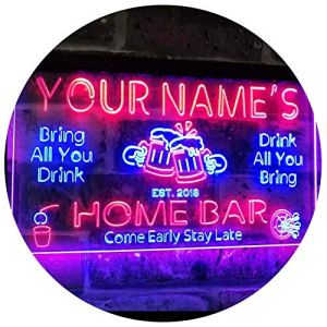 ADVPRO Personalized Your Name Custom Home Bar Beer Established Year Dual Color LED Enseigne Lumineuse Neon Sign Blue & Red 300mm x 210mm st6s32-p1-tm-br