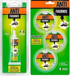 ANTI F NIFOUBOIT3 Lot de 3 Boites Vert Gel Appât 1 Tubes de 30 G | Action Rapide et Longue Durée | Tout Types de Fourmis, Facile d' Utilisation