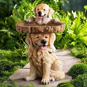 Bains d'oiseaux pour extérieur -Funny Bain d'oiseau Supports pour la résine de Jardin Dog Decor Decor Décor Polyresin Jardin Antique Bird Bathbath,F