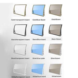 Balancelles avec auvent en Alliage d'aluminium Ultra-Silencieux Porte fenêtre Auvent Patio Pare-Soleil Canopy Cover PC Feuille de Polycarbonate (Color : Silver/Blue Plate, Size : 100 * 150cm)