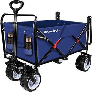 BEAU JARDIN Chariot de Jardin Chariot à Main Pliable Chariot Pliant Chariot de Transport Chariot Remorque de Jardin d'extérieur Pliante Charrette à Bras jusqu'à 100KG pivotant Poussette Bleu