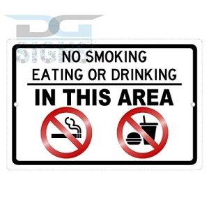 bienternary Panneau en Aluminium avec Inscription « No Smoking Eat Or Drink in This Area » – Panneau en métal – Panneaux en métal – Plaque décorative