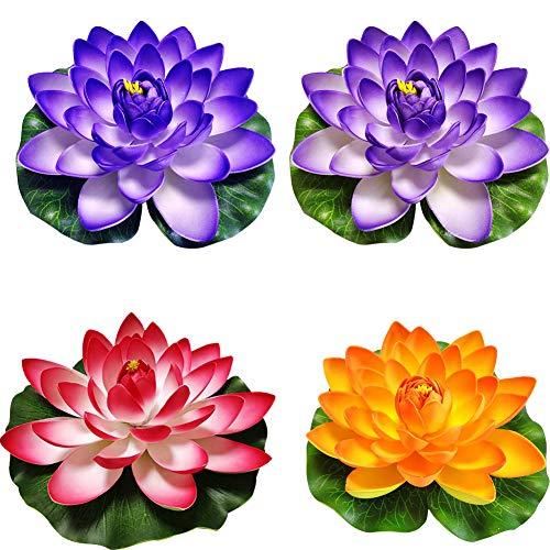 BOVER BEAUTY 4 Set Artificielle Flottante Lotus Fleurs Lily Pond Caractéristiques Eau Étang Flore Flottant pour Le Parti des étangs Piscines Poisson Paysage Réservoir (Orange Violet Rouge Bleu 17cm)