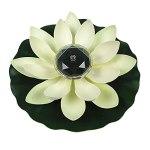 BOVER BEAUTY Lotus Pond Lumière étang Caractéristiques Eau Artificielle Lotus LED Lampe Solaire Piscine Paysage Décoration étanche Lumière de Fleur (Blanc lumière Blanche 28cm)