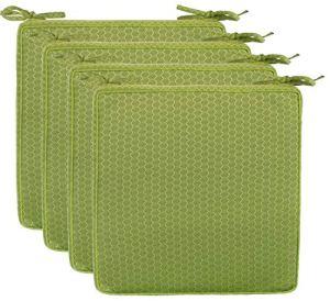 Brandsseller Lot de 4 coussins de chaise d'extérieur avec passepoil – Aspect nid d'abeille – Résistant à la saleté et à l'eau – Avec bandes de fixation – 40 x 40 x 4 cm – Vert