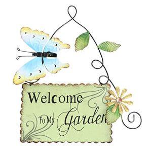 Cabilock – Pancarte de bienvenue à papillon en métal pour le jardin, la porte d'entrée, la maison – Vert