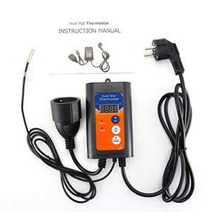 CandyTT Thermostat de Tapis Chauffant Plateau de Propagation en Plastique équipement de Culture horticole hydroponique régulateur de température de Tapis Chauffant (Noir UE)