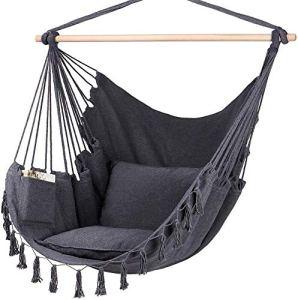 Chaise hamac, Suspendu Corde for Se Balancer, 2 Coussins Chaise Accrocher avec Poche, Coton de qualité for Le Confort Weave Durabilité, Couleur: Noir (Color : Black)