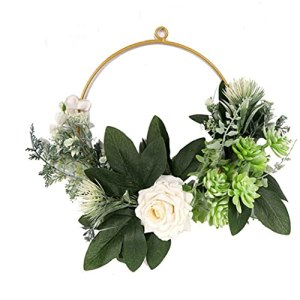 Couronne décorée couronne de fleurs artificielles suspendus Roses Succulent pour fenêtre mur Porte d'entrée de soirée de mariage Décoration
