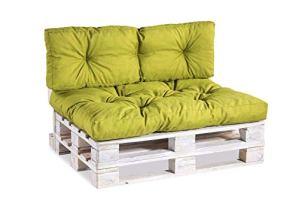 Coussin matelassé pour palette / coussin de siège / de dossier en polypropylène Set (Sitzkissen 120×80 +Rückenlehne 120×40) citron vert