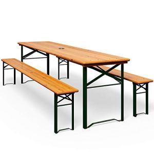 Ensemble Table et bancs Bois Pliant Meuble de Jardin 3 Pieces Terasse fête Pliable