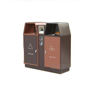 FEANG Poubelle Poubelle Moderne avec tonneau intérieur et cendrier, 2 poubelles carrées de 2 poubons à Grande Poubelle pour Usage extérieur ou Commercial Boîte à ordures