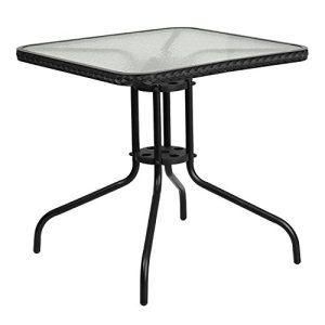 Flash Meuble carré de 71,1cm de côté en Verre trempé Table en métal Noir avec Bordure en rotin