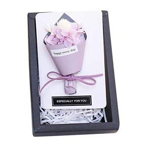 Fleurs séchées pour cadeaux de fête des mères – Mini bouquet éternel naturel avec boîte cadeau – Petite carte de vœux rose pour la fête des mères 2021 – 12,5 cm (A)