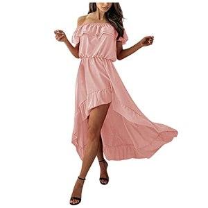 Fulltime® Robe d'été Dames, Robe midi Sexy pour Femmes avec Ourlet à Volants Hors épaule Robes de Plage Robe irrégulière (Pink,S)