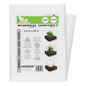 GARDENIX® 16 m² Polaire de Protection Contre Le Froid en Non-tissé résistant aux déchirures, épaisseur : 50 g/m² (1,6m x 10m)