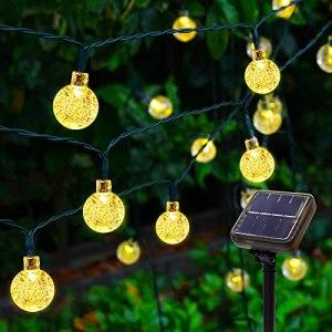 Guirlande Lumineuse Solaire Extérieure – 60 LED 11.5M Chaîne de Lumière Solaire Étanche, 8 Modes de Guirlandes Lumineuses à Boule de Cristal Solaire pour Jardin Maison Patio Yard Party (Blanc Chaud)