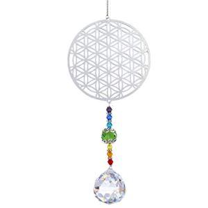 H&D Cristal arc-en-ciel Attrape-soleil Métal Fleur de Vie Pendentif Verre Chakra Boule prisme