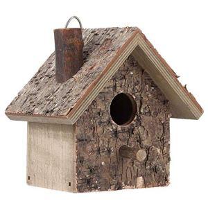 HERCHR Nichoir Oiseaux Exterieur a Suspendre, Maison Oiseaux en Bois pour Jardin Extérieur Patio Nid Décoratif Nichoir, 16 x 12,4 x 19,3 cm