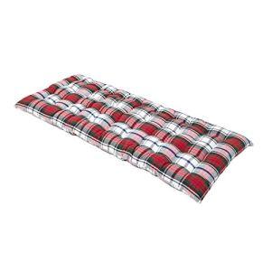 HOMESCAPES Coussin pour Banc de Jardin 2 Places, Matelas de Sol en Coton 108×42 cm, Carreaux écossais Rouge