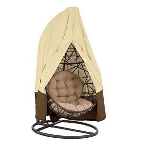 Housse fauteuil suspendu imperméable extérieur, couverture chaise œuf anti-poussière intérieur, bâche revêtement fauteuil berçant protection meuble jardin 190 x 115cm (Beige 420D)