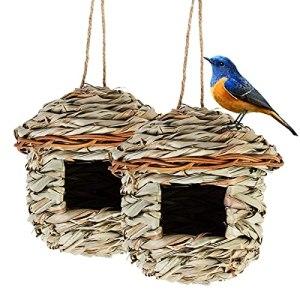 Hywean 2 Pièces de Nichoir Oiseaux Tissé, Nid Oiseau Fait à La Main, Adapté aux Petits Oiseaux Tels Que Les Colibris, Les Mésanges, Maison Oiseaux Exterieur