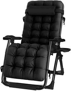 JAZC Chaise Longue de Jardin, Chaise inclinée Pliante chaises Longues chaises de Jardin avec Matelas épais, Pont Pliant inclinable zéro gravité Chaise extérieure avec Dos réglable et Repose-Jambes