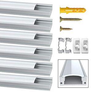 Jirvyuk Profilé Aluminium LED de 6 x 1 Mètre U- Shape Profilés en aluminium pour LED Bande Lumières Avec Blanc Laiteux Couvercle, Embouts et Clips de Montage en Métal