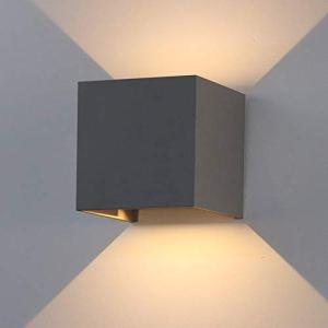K-Bright ampoules murales LED 12W moderne étanche IP65 LED éclairage mural Gris foncé réglable