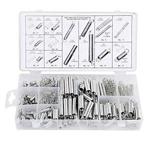 KKmoon Ensemble de ressorts en acier 200 pièces,ressorts d'extension combinaison,ressorts de compression assortis avec boîte de rangement ensemble d'outils portables